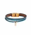 دستبند چرم و بافت بی نهایت سبز آبی براق
